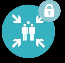 Icone ASH qui représente deux personnes en sécurité sur fond turquoise