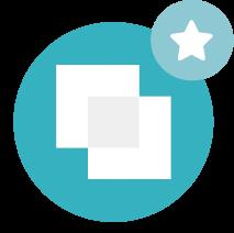 ASH - Icone avec deux carrés blanc sur fond turquoise